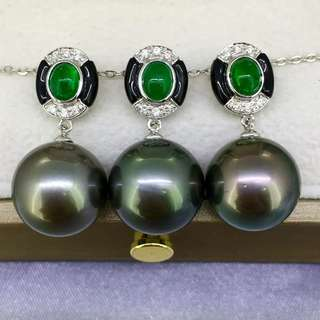 大溪地黑珍珠18k吊墜 祖母綠鑽石鑲嵌 12-13M正圓強光微小瑕 高級時尚 非常好看的一款。 💰💰特惠價發售,歡迎咨詢訂購😊
