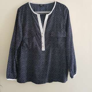 F&F Polo Top Office Polka Dots Plus Size