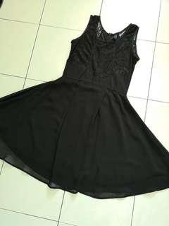 Wedding dinner Lace black short dress