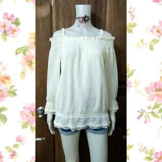 Colza cream lace offshoulder top