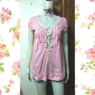 Pink pinstripe long top
