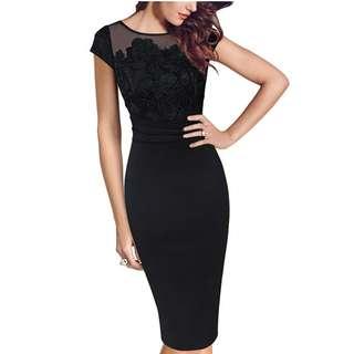 Slip Black Mesh Splice Flower Tight Large Dress Multilayer Waist