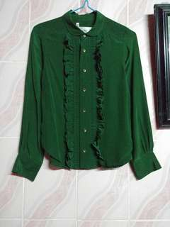 Luella emerald green ruffled silk top