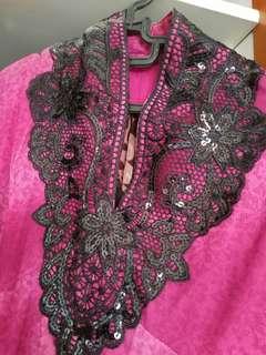 Gamis pesta bahan adem warna pink fushia
