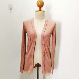 🆕BRAND NEW Ribbed Cotton Pink Pocket Outer Cardigan
