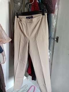 khaki straight cut work trousers
