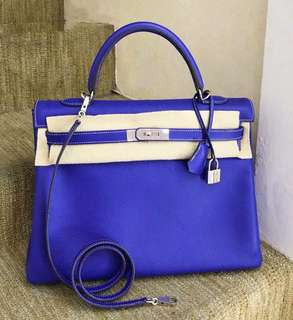 Hermès Kelly 35 7T電光藍 + 希臘藍🔥拼色 EPSOM 皮 白線 限量版🦋品相超級好👌🏻價格特好