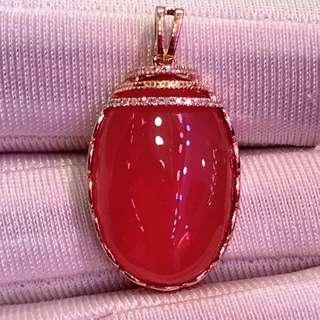 18K金紅紋石吊墜,石頭規格:22×14×5.5 特價:¥4600