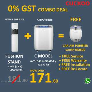 Combo water purifiers and air purifiers