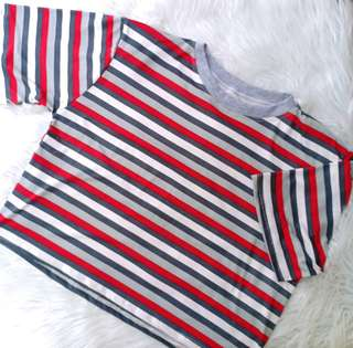 New Striped Boxy Korean Oversized Tee xs-s