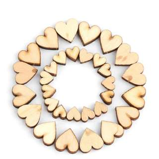 20Pcs Mixed Rustic Decoration Table Scatter Handmade Wood Wedding Decor Wooden Love Heart Crafts