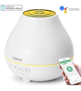 (100) Oittm Smart Aroma Essential Oil Diffuser Wifi Humidifier, Works with Alexa, Google Assistant and Phones App, 200ml Ultrasonic Adjustable Mist Waterless Auto Shut-off 7 Color LED Lights & Timing