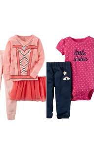 100% Authentic CARTERS 2-Sets of 3pc & 2pc Baby Girl Clothing  for 18months