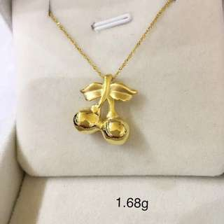 足金金飾 999硬金 足金車厘子 Cherry 吊墜 (1.68g) 999 Gold Pendant only