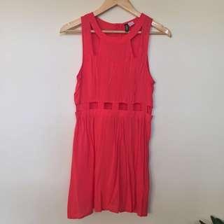 H&M Cut-out Coral Dress