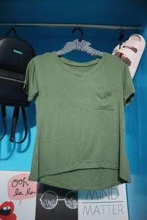 Army green v neck pocket tee