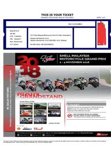 Moto GP 2018 Ticket Main Grandstand