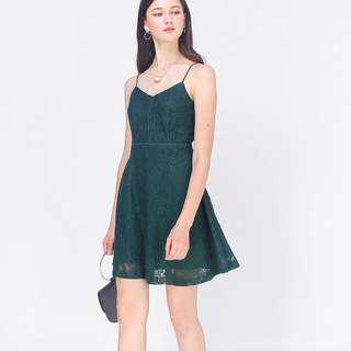 Fayth Edel Lace Swing Dress in Teal (Size L)