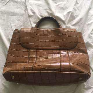 Croc Print Faux Leather Bag