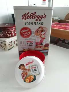 Kellogg's Cereal Tin & Plastic Container