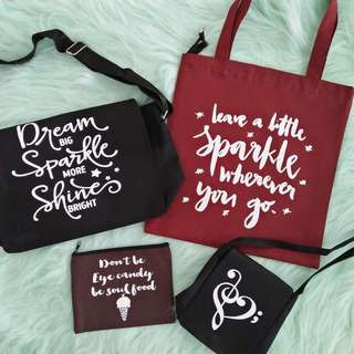 tote bags, purse , shirts and sling bags