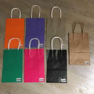 Kraft Paper Bag Orange Purple Grey Green Pink Black Brown