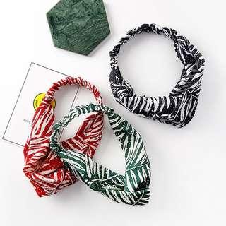 🚚 棕櫚葉交叉髮帶 綠/黑/紅