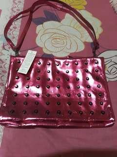 Metallic pink shoulder bag