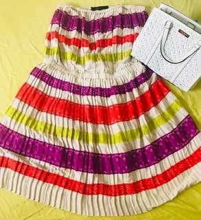 BCBGMAXAZRIA Tiered-Lace Strapless Dress