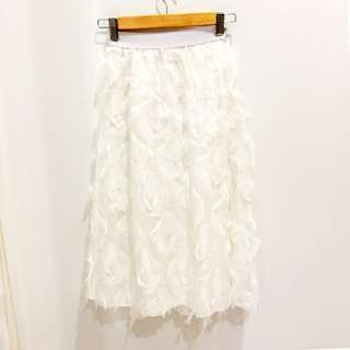 🆕BRAND NEW Feather Layered White Midi Skirt