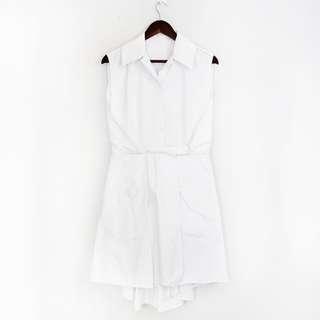 White Chic Sleeveless Wrapped Dress