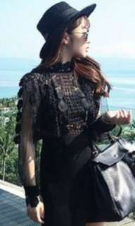 🚚 歐美品牌小香風高腰鏤空蕾絲網紗小性感透視洋裝
