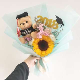 Graduation Bouquet in Sunflowers with Mix Fillers and Baby Breath