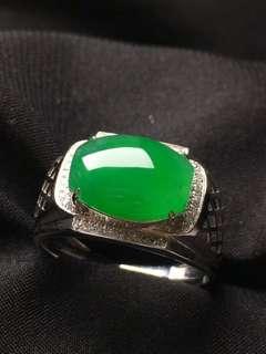 GZ-36陽綠馬鞍戒指 18K金鑲嵌 完美無裂 撿漏價:¥16800, 配證書精美禮盒