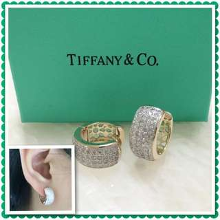 Tiffany Italy Gold 10K Loop Earrings Hoop Earrings with Inset High Grade Russian Stones Saudi Gold 18K Women's Earrings (Not Pawnable)