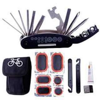 GrabMee Bike Repair Tool Kits - 16 in 1 Multifunction Bicycle Mechanic Fix Tools Set Bag with Tire Patch Levers