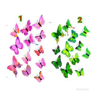 Wall Sticker Butterfly 3D Motif Double layer -Stiker Dinding Kupu-Kupu