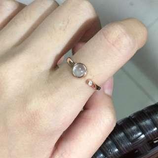 天然緬甸玉a貨高冰木拿小蛋面鑲嵌18k真金真鑽設計款漂亮戒指(11戒圍)