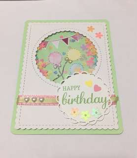 Shaker Birthday Card -handmade