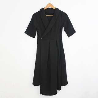 (S-M) Vintage Style Black Wrap Shortsleeves Dress