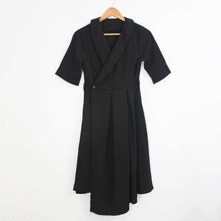 (S-M) Vintage Style Black Wrap Shortsleeves Dress