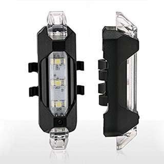White Bright LED Rear Light/Tail Light Rechargable Waterproof