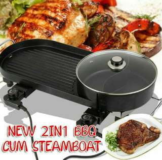 Electric Barbecue Grill and Steamboat Pan