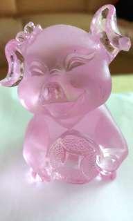 古法琉璃-粉红色金钱小猪(8cm)