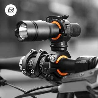 Bracket Clip Flashlight Stand Rotatable Front Lamp Holder (Black Orange)