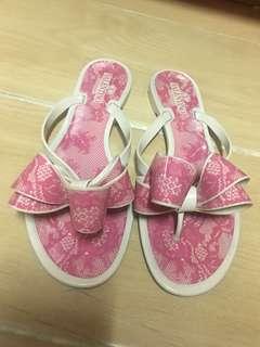 Ferragamo 蝴蝶結 lace pink 蕾絲 粉紅色 涼鞋 拖鞋 人字拖 shoes