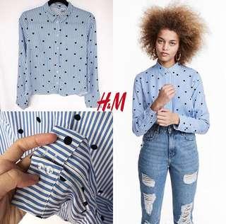H&M kemeja dotted stripe