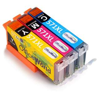 1137.OfficeWorld Replacement for Canon CLI-571 CLI-571XL Ink Cartridges Cyan Magenta Yellow Compatible with Canon Pixma MG5750 TS5050 MG5751 MG5753 MG6850 MG6851 MG6852 TS5051 TS5053 TS5055 TS6050 TS6051
