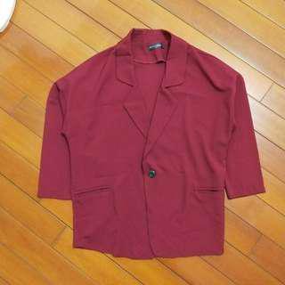Queenshop 落肩酒紅色西裝外套