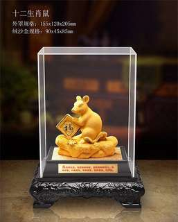 gold plated auspicious figurines - 绒纱金摆件Gold Rat